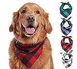 Oyccen 4 Piezas Pañuelo de Algodón a Cuadros Bandanas de Mascotas Triángulo Baberos Bufandas para Pequeño Mediano Grande Perro Gato