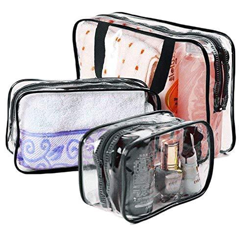 Glamza Lot de 3 sacs de voyage en PVC Transparent Noir