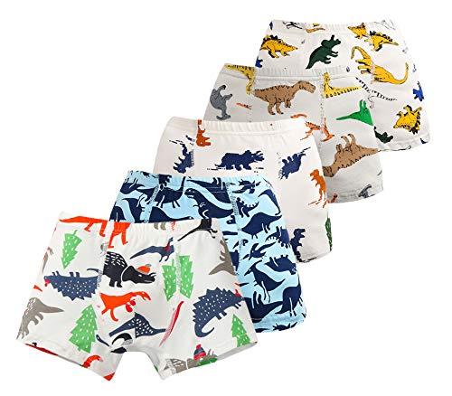 EOZY 5er Pack Jungen Boxershorts Slips Boxers Unterwäsche Dino Motiv Unterhosen Baumwolle Dinosaurier 2-3 Jahre