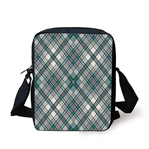 Checkered,Vintage Fashion English Country Style with Modern Look in Light Colors Decorative,Aqua Light Grey White Print Kids Crossbody Messenger Bag Purse