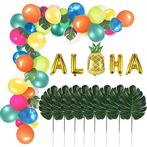 Tropical Hawaii Party Balloons Garland Kit Luau Balloon Arch Garland with ALOHA Pineapple Foil Balloon Palm Leaves Balloon Strip Glue Dot and Golden Ribbon for Tropical Theme Party Decoration