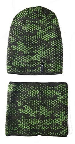 AJS - set muts en sjaal voor jongens gevoerd, winter - / overgang - hoofdomtrek 56-58 cm - past optimaal - kwaliteit uit de EU - Polen