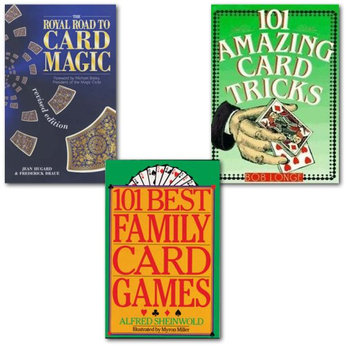 Card Tricks Card Magic Collection 3 Books Set, (101 Amazing Card Tricks, 101 Best Family Card Games and The Royal Road to Card Magic)