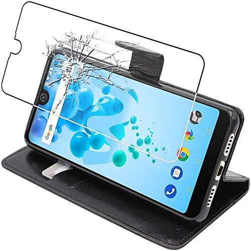 ebestStar - kompatibel mit Wiko View 2 Pro Hülle Kunstleder Wallet Hülle Handyhülle [PU Leder], Kartenfächern Standfunktion, Schwarz + Panzerglas Schutzfolie [Phone: 153 x 72.6 x 8.3mm, 6.0'']