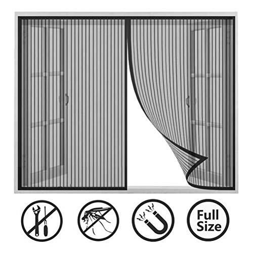 CHENG Fliegengitter Magnet balkontir 90x215cm, AutomatischesSchließenInsektenschutzfür Magnetverschluss Mückenschutz für Fenster - schwarz