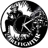 zgfeng Disco de Vinilo Reloj de Pared de motivar a los niños Que Trabajan Duro Bomberos para Sala de Estar Dormitorio Escuela de Decoración Bombero Without led Light-Without_LED_Light
