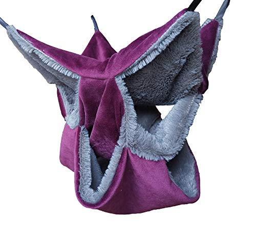 VEDEM Small Animals Warm Plush Triple Bunkbed Cage Hanging Hammock Bed Hideout for Sugar Glider Ferret Squirrel… (Purple 14.5'' x 14.5'')