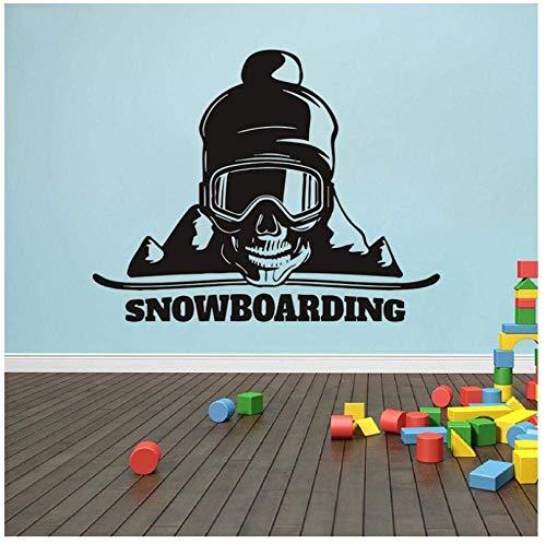 Muursticker Snowboarden Muurstickers Sport Oefening Muurdecoratie voor Meisjes Jongens Slaapkamer Kwekerij Sneeuw Muur Art Decor57X73Cm