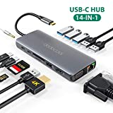 dodocool USB C Hub Dual Display 14-Ports Aluminium USB C Dock mit 4K-HDMI, VGA, Gigablit Ethernet RJ45, USB 3.0/2.0, Mic/Audio, Type C PD 100W, SD/TF Kartenleser für MacBook Pro/Air, Galaxy S8/S9 usw.
