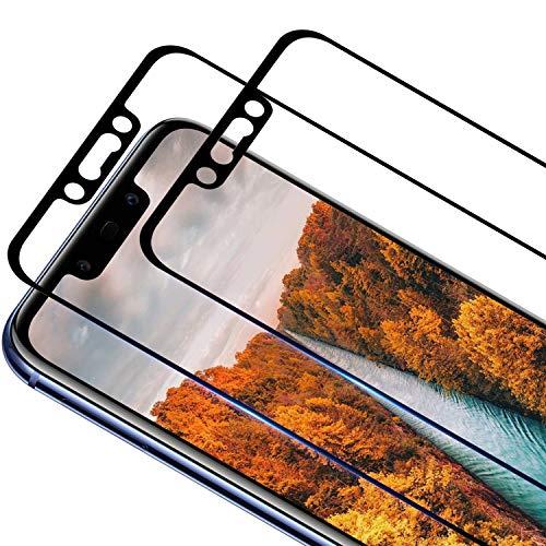 RIIMUHIR [2 unidades] Protector de pantalla de cristal templado compatible con Huawei Mate 20 Lite, dureza 9H, borde redondo 3D, transparente, antiarañazos, antiburbujas, mate 20 Lite
