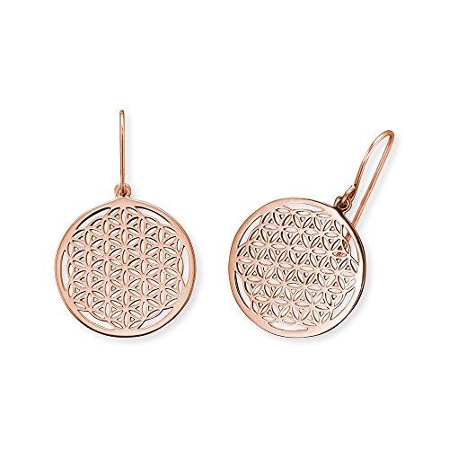 Engelsrufer Blume des Lebens Ohrhänger für Damen rosévergoldetes 925er-Sterlingsilber Größe 21 mm
