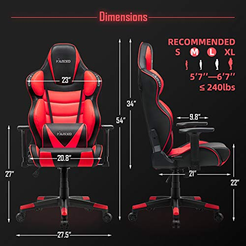 Musso Contoured Gaming Chair Adults Racing Computer Gamer Chair with Fully Foam, Esports Video Game Chair, PU Leather Executive Office Chair with Lumbar Support (Red)