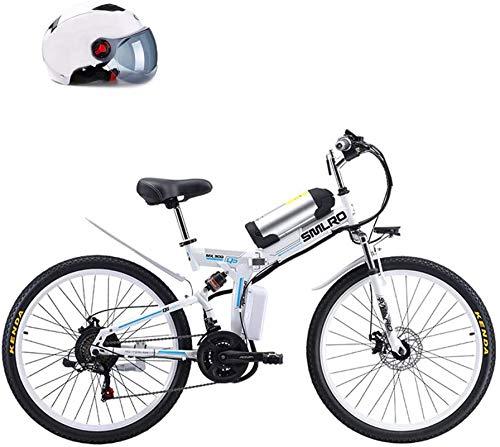 RDJM Bici electrica, 26'Bicicleta asistida por el alimentación Plegable, batería de Litio extraíble 48V 8AH, 350W Motor Straddling Fácil Compacto, Plegable Montaña Bicicleta eléctrica, Blanco