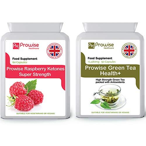 Groene thee 12480 mg 90 capsules + frambozen ketonen 600 mg 60 capsules - UK Gefabriceerd volgens GMP Gegarandeerde kwaliteit - Geschikt voor vegetariërs en veganisten door Prowise Healthcare