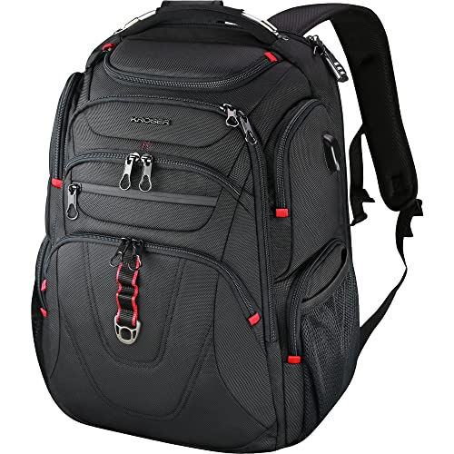 KROSER TSA Friendly Travel Laptop Backpack 17.3 Inch XL Heavy Duty Computer Backpack Water-Repellent College Daypack Business Backpack with RFID Pockets & USB Port for Men/Women-Black