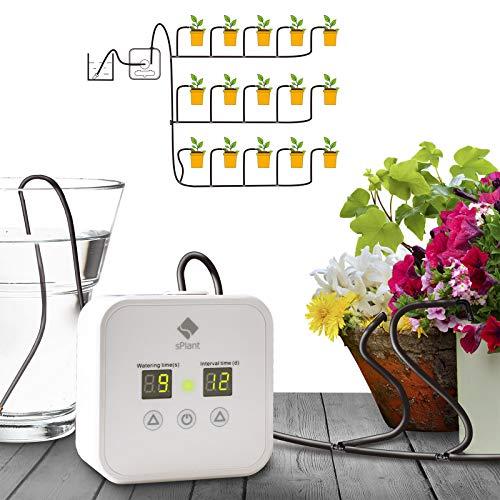 sPlant Automatisches Tropfbewässerungs-Kit, Selbstbewässerungssystem für Zimmerpflanzen mit 30-tägigem, digital programmierbarem Timer für 15 Zimmerpflanzen (Hochleistungsversion)