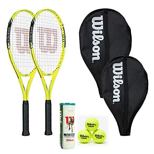 Dos raquetas de tenis Wilson Energy XL con fundas para la cabeza y 3 pelotas de tenis Wilson Tour