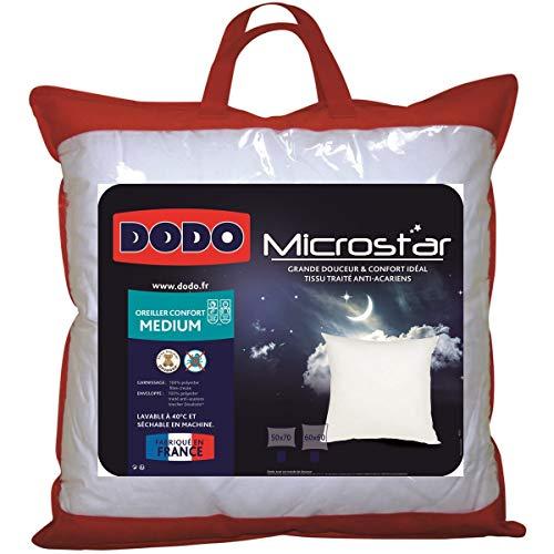 UNIVERS-DECOR Lot de 2 oreillers microstar Médium Anti-Acariens Dodo (Blanc, Lot de 2 oreillers microstar Dodo 60 x 60 cm)