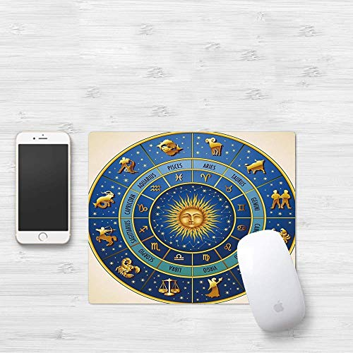 Gaming Mouse Pad,  Astrology,  Wheel of Astrological Signs Noms and Dates with Moon Sun in Middle Decorative,  Blue Light Blue an,  Thick Waterproof Mouse Mat Gaming Functional Antidérapant Functional Rub