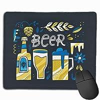 マウスパッド オフィス 最適 ビール コップ 瓶 英文柄 個性 ゲーミング 光学式マウス対応 防水性 耐久性 滑り止め 多機能 標準サイズ25cm×30cm
