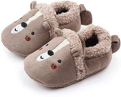 Sabe Babyschuhe, warm, Fleece, niedliche weiche Sohle, für Jungen und Mädchen, Kinderwagen-Schuhe, Geschenk zum ersten Geburtstag, - A1, Grauer Bär. - Größe: 6-12 Monate
