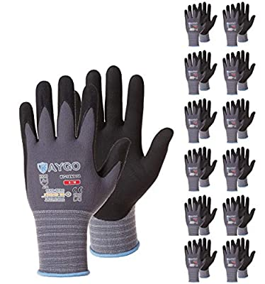 Safety Work Gloves MicroFoam Nitrile Coated-12 Pairs,KAYGO KG18NB,Seamless Knit Nylon Glove with Black Micro-Foam Nitrile Grip,Ideal for General Purpose,Automotive,Home Improvement,Painting