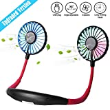 scurry Upgraded Version Portable Neck Fan, Color Changing LED, with Aromatherapy, 360° Free Rotation,and Lower Noise Strong Airflow Headphone Design for Sport, Office, Home, Outdoor, Travel, etc.