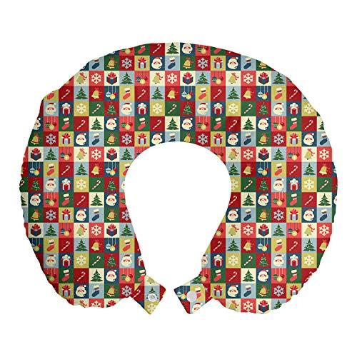 ABAKUHAUS Kerstmis- Reiskussen, Kerstman Surprise Boxes, Reisaccessoire met Geheugenschuim voor Vliegtuig en Auto, 30 cm x 30 cm, Veelkleurig