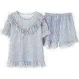 Mujer Summer Cool Sleepwear Plaid Pijamas Casual Ropa de hogar Cute Nighty Soft Comfortable Pyjamas Short Short Sleeve Shorts XXL