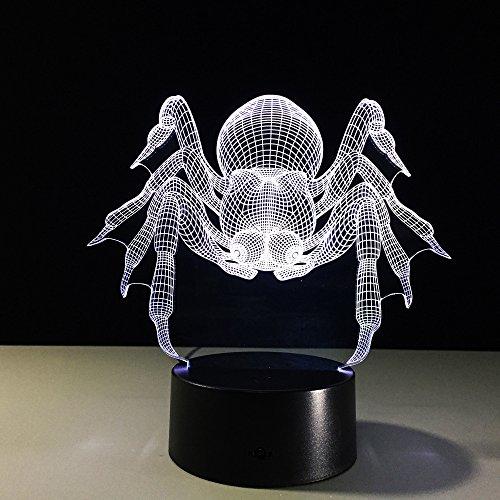 Visuelle Illusionslampe der Spinnen-3d Transparentes Acrylnachtlicht führte feenhafte Lampa-Farbwechsel-Notentabelle, die Lampe 3d birgt