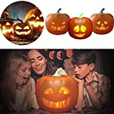 Halloween Jabberin'Jack The Talking Animated Pumpkin with Built-in Projector & Speaker, Singing/Talking/Joking Pumpkin Projection Lamp for Halloween Decor Home Party (3in1)