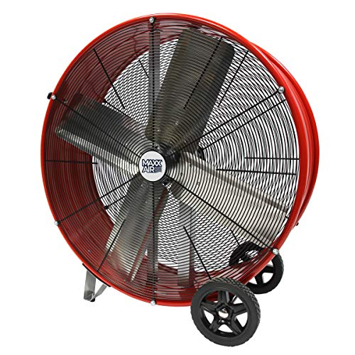 MaxxAir High Velocity Industrial Direct Drive Barrel Fan. Heavy Duty Rolled Steel Housing, 5,500 CFM (30 Inch Barrel Fan)