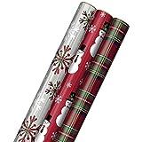 Hallmark Foil Christmas Wrapping Paper with Cut Lines on Reverse (3 Rolls: 60 sq. ft. ttl) Plaid Snowflakes, Snowmen, Tartan Plaid