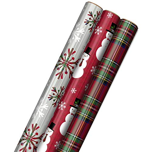 Hallmark Foil Christmas Wrapping Paper with Cut Lines on Reverse (3 Rolls: 60 sq. ft. ttl) Plaid Snowflakes, Snowmen, Tartan Plaid