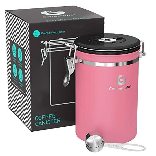 Coffee Gator-Edelstahl-Kaffeedose – Hält gemahlener Kaffee und Bohnen länger frisch – Behälter mit Datumsverfolgung, CO2-Freigabeventil und Messlöffel