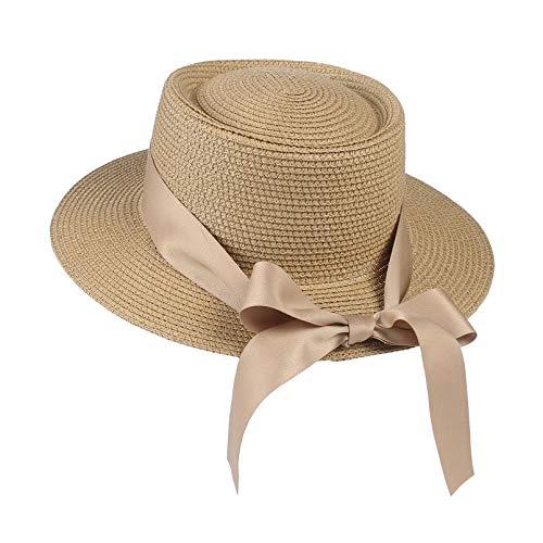 GEMVIE Sombrero de verano para mujer, sombrero de paja ancho, gorro de playa con lazo de grogrén caqui M