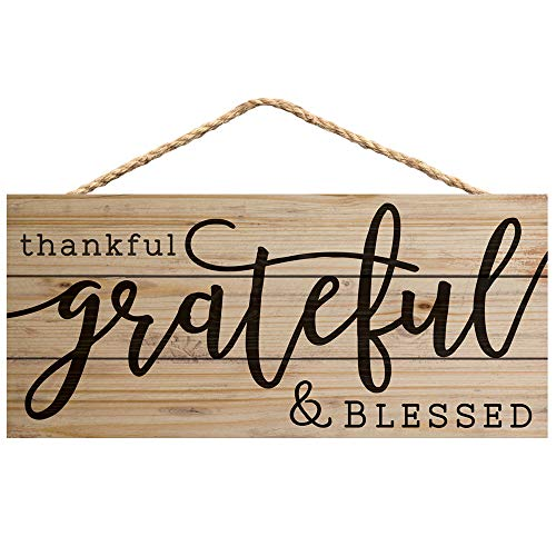 P. Graham Dunn Thankful Grateful Blessed 10 x 4.5 Inch Pine Wood Decorative Hanging Sign