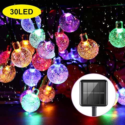 Einsgut Solar Lichterkette außen 30 LED Kristallbälle 2/8 Modi IP65 600mAh Solarbatterie Wasserdicht Warmweiß Beleuchtung für Garten Terrasse, Haus Party Weihnachten