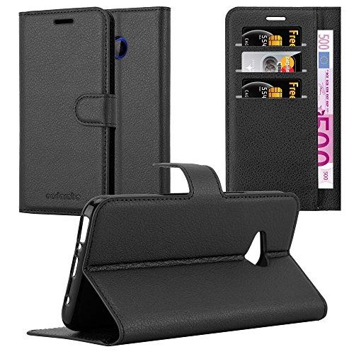 Cadorabo Hülle für HTC U11 Life - Hülle in Phantom SCHWARZ – Handyhülle mit Kartenfach und Standfunktion - Case Cover Schutzhülle Etui Tasche Book Klapp Style