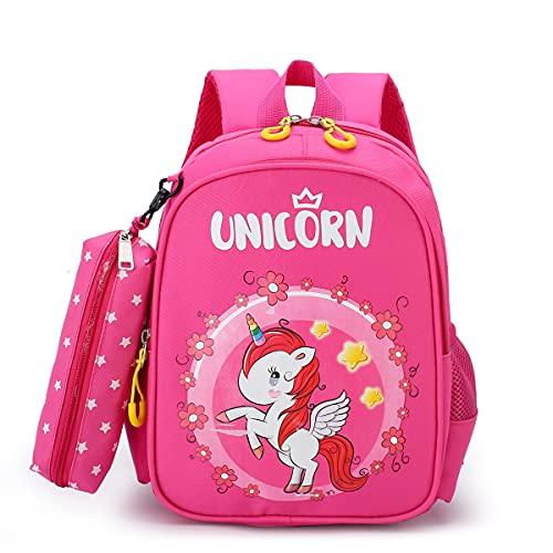 N\A - Mochila escolar para niña, primaria de nailon, diseño de unicornio dinosaurio Rosa B Talla única