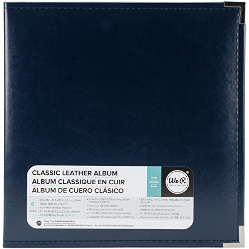 8.5 x 11-inch Classic Leather 3-Ring Album by We R Memory Keepers | Navy, includes 5 page protectors