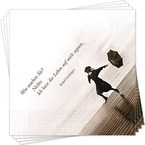 Antje Kunstmann Gute-Laune-Servietten mit Motiv was Machen Sie? Nichts. Ich Lasse das Leben auf Mich regnen. (Rahel Varnhagen) - 20 Stück 33 x 33 cm - 3lagig - lichtecht - RFS001