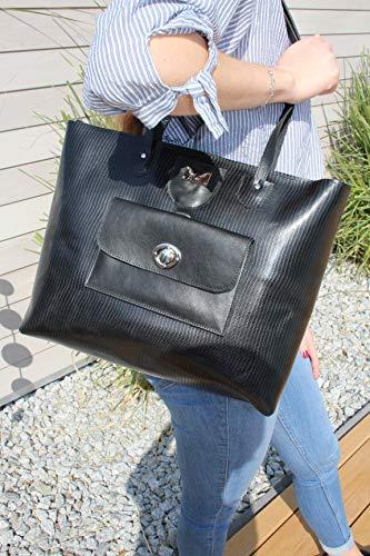 große schwarze Handtasche Laptoptasche Lederhandtasche Shopper Damenhandtasche Trägerhandtasche