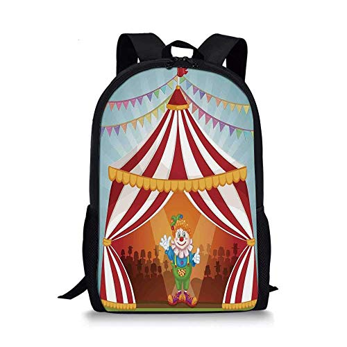 AOOEDM Backpack Circus Decor Mochila Escolar Elegante, Payaso de Dibujos Animados en Carpa de Circo Disfraz Alegre Animador Divertido para nios, 11 'L x 5' W x 17 'H
