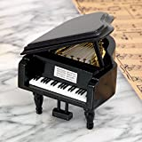 Bits and Pieces - Mini Musical Grand Piano Music Box Plays Over The Rainbow - Wooden Wind-Up Music Box Plays for Two Minutes