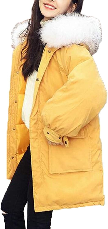 TDCACA Women's Down Jacket Faux Fur Hoodie Zipper Winter Warm Coat