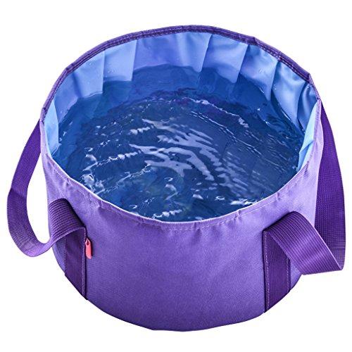 outdoor product Pêche Camping Essentiel Bassin Pliant Portable Ultra-léger Voyage en Plein air Seau Grande capacité Laver Votre Bassin Pieds Visage (Violet) (Envoyer Le même Sac)