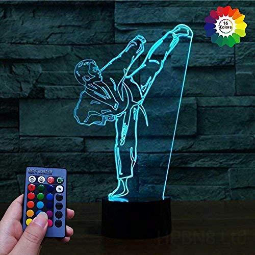 Optische Täuschung 3D Taekwondo Nachtlicht USB-betriebene Fernbedienung Touch-Schalter Dekor Tisch Schreibtischlampen 7/16 Farbwechsel Lichter LED Tischlampe Weihnachten Zuhause Liebe Brithday Kinde