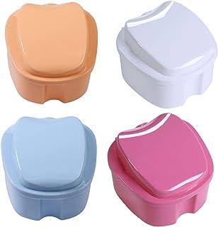 Boîte à Dentier avec Crépine,Xiuyer 4 Pièces Prothèse Dents Boîte de Rangement Récipient Panier Rinçage pour Protège-Dents...
