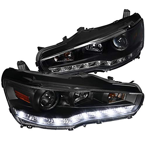 Spec-D Tuning R8 Led Projector Headlights Lamps Black for 2008-2015 Evo X Evo 2010 Lancer Head Light Assembly Left + Right Pair